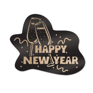 Glittered Happy New Year Sign (ブラック&ゴールド) Party Accessory ( 1 Count )