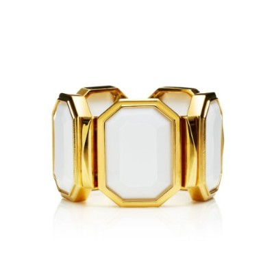 Juicy Couture Oversized Stretch Stone Cuffブレスレット、ホワイト