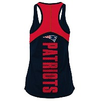 NFL新しいEngland PatriotsレディースBaby Jersey Racer Back Tank Top with Contrasting色、大きい、海軍