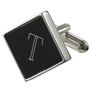 Visol Grove PersonalizedブラックMatte Cufflinks with Engraved Letter T
