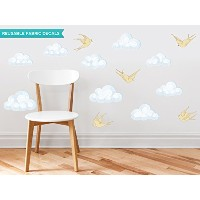 Sunny Decals Modern Clouds Fabric Wall Decals with Birds (Set of 9), Yellow by Sunny Decals