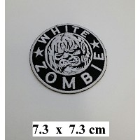 WHITE ZOMBIE ROB Heavy Metal Logo Iron On Sew On Embroidered Patch 2.9/7.4cm x 2.9/7.4cm BY MNC...