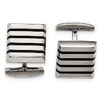 ChiselステンレススチールPolished Black Rubber Square Cuff Links