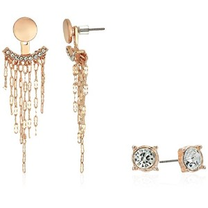 GuessレディースStud and Front Back Earrings withチェーンフリンジ One Size