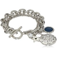 """GuessレディースダブルRow Toggle Bracelet with Charms on the ends 7.5"""""""