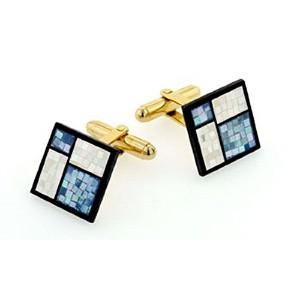J。J。Weston Midブルーand Pearlescent Mother of Pearl Cufflinks。Made In The u.s.a