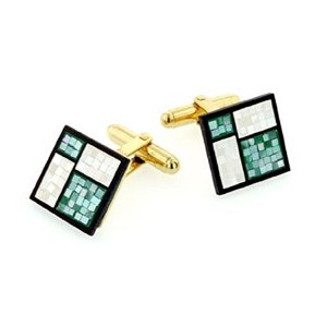 J。J。Weston緑とPearlescent Mother of Pearl Cufflinks。Made In The u.s.a