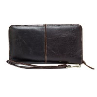 Zhhlinyuan レザー Mens Women Unisex Long Zipper Leather Credit Card Multi-card Coin Purse Money Wallet...