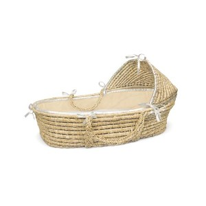 Badger Basket Natural Moses Basket with Hood, Ecru Waffle Bedding by Badger Basket