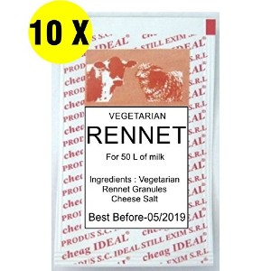 10x i-deal Rennet &チーズ塩Mix 6gポーチすべての種類のチーズ1ポーチfor 50リットルのミルク。。。