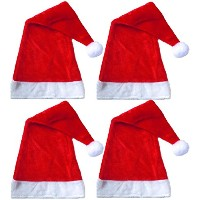 "レッドDeluxe Plush Santa Hat 25"" x 11"", ages 12+ レッド G91511"