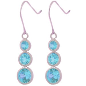 Simulated Blue Topaz Round Bezel Dangle Earrings .925 Sterling Silver Rhodium Finish