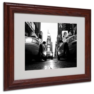 (28cm by 36cm) - Trademark Fine Art Broadway Taxis by Yale Gurney Canvas Artwork in Wood Frame,...