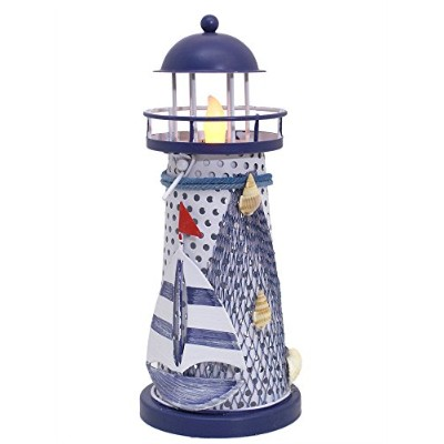 Nautical Gifts - Nautical Lighthouse Decor - Blue and White Lighthouse with a LED Flameless...
