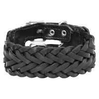 Genuine Black Leather Plaited 40 mmメンズのカフブレスレットby Urbanオス