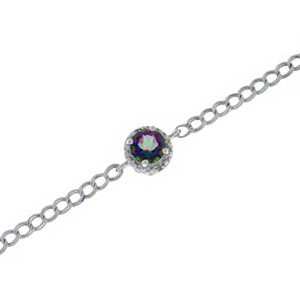 1 Ct Mystic Quartz & Diamond Round Bracelet .925 Sterling Silver Rhodium Finish