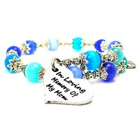 In Loving Memory Of My Mom Cat 's Eye Wrap Charm Bracelet inサファイアブルーとアクアブルー