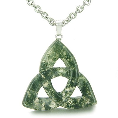Celtic TriquetraノットMagic Amulet Green Moss Agate Good Luck Powersペンダント22インチネックレス