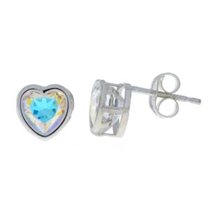 2 Ct Mercury Mist Mystic Topaz Heart Bezel Stud Earrings .925 Sterling Silver