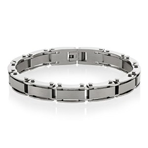 "Crucible Stainless Steel Dual Finish Link Bracelet – 8.5 "" ( 9 mm )"