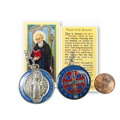 The St Benedict Medal Pendant withシルバーメッキネックレスand Free PrayerカードBlessed by Pope Francis