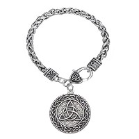 Knotwork Triquetra TrinityペンダントスナップブレスレットWiccanジュエリー