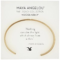 "[ドギャード]Dogeared ""Maya Angelou"" Nothing Can Dim The Light Thin Engraved Gold Cuff Bracelet ブレスレット..."
