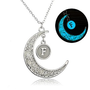 linsh初期ネックレスGlow in Dark Hollow Out Carved Moon F文字ペンダントネックレス色:シルバー