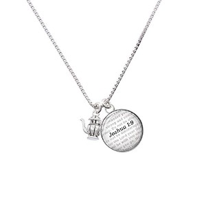 "Silvertone Tea Pot – Bible verse Joshua 1 : 9ガラスドームNecklace , 18 "" + 2 """