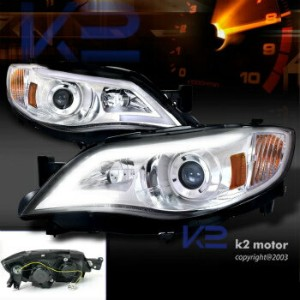 スバル インプレッサ ヘッドライト Subaru 08-14 Impreza WRX 08-11 Outback Sport LED DRL Projector Headlights Chrome...