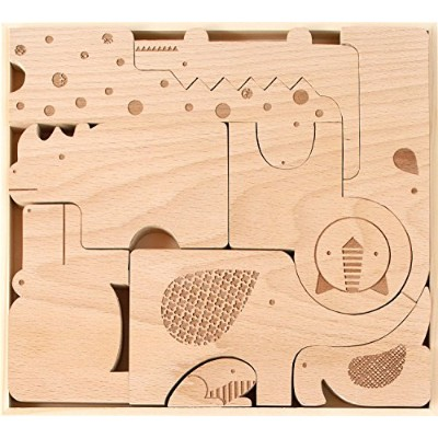 Petit Collage Wood Puzzle Plus Play, Safari Jumble by Petit Collage [並行輸入品]