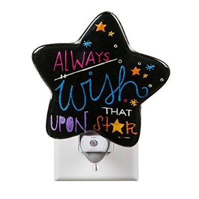 Chalk It Up Hand Painted Glass Nightlight w and Darkness Sensor by Gifted Living