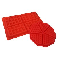 xkhuo 2pcs / SetレッドシリコンWaffles Molds Setケーキツール耐熱皿Supplies 10.8*7*0.6in 7*0.6in レッド HFMOLD-01