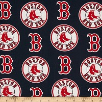 MLB Cotton Broadcloth Boston Red Sox Red/Navy Fabric By The Yard by Fabric Traditions