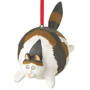 Calico Fat CatクリスマスツリーオーナメントHanging From His Back by Midwest 4.75インチMade ofポリレジン