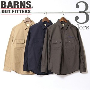 【SALE】CHINO WORK EMBROIDERY SHIRT BARNS OUTFITTERS バーンズ アウトフィッターズ チノ ワーク 刺繍 長袖 シャツ アメカジ 下北沢直営店 日本製...