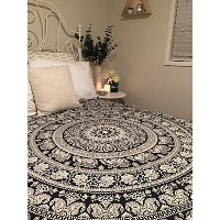 Black & White Tapestries Hippie Mandala Intricate Floral Design Indian Bedspread Tapestry 84x90...