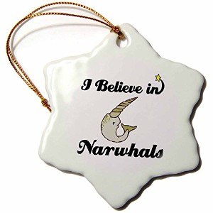 3drose Dooni Designs I Believe In–I Believe In Narwhals–Ornaments 3 inch Snowflake Porcelain...