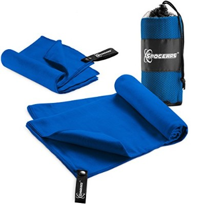 (Blue) - Microfiber Towels Set By Spogears - Gym Towel Set Includes An XL 58x30'' Camping Towel +...