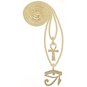 Gwood Ankh with Eye of Horus 2つネックレスペンダントセット