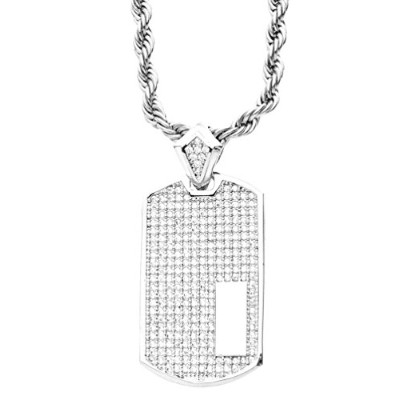 Iced Out Bling Micro Pave ペンダント - DOG TAG シルバー