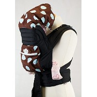 Brown With Baby Blue Spots Floral Mei Tai Baby Sling Carrier With Hood and Pocket by Palm&Pond