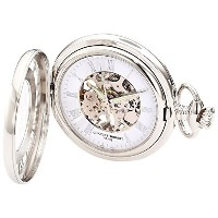 Charles-Hubert Paris 3928 Classic Collection Chrome Finish Brass Mechanical Pocket Watch [並行輸入品]