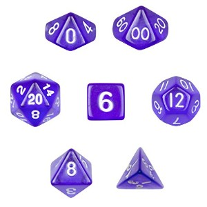 7 Die Polyhedral Dice Set – 半透明パープルwithベルベットポーチby Wiz Dice