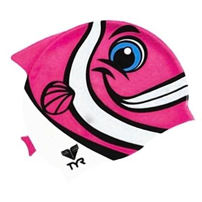 TYR(ティア) スイムキャップ HAPPY FISH SWIM CAP JUNIOR PK LCSHFISH ピンク FREE