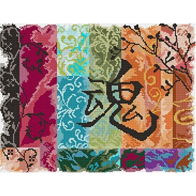"""Abstractions Abstract Collage Counted Cross Stitch Kit-11""""X14"""" 14 Count"""