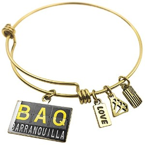 Expandable Wire Bangle braceletbaq Airportコードfor Barranquilla、NEONBLOND