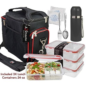 a2s Complete Meal Prep Lunchボックス–8個セット:クーラーバッグ3x部分制御弁当ランチコンテナLeakproof 3コンパートメント電子レンジBPAフリー–...