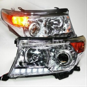 トヨタ ランドクルーザー ヘッドライト 2008-2014 Year TOYOTA FJ200 Land Cruiser LC200 LED Headlights Chrome Housing...