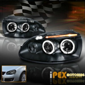 フォルクスワーゲン ヘッドライト VOLKSWAGEN 2006-2008 VW MK5 Jetta Golf Rabbit Halo Projector LED Headlight Black...